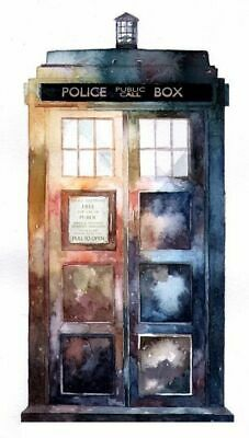 00087 Doctor Who Tardis Watercolour Art Image Wall Print Poster Au