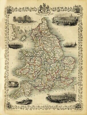 England and Wales Antique Illustrated Map Tallis 23.2 x 16.8 inch