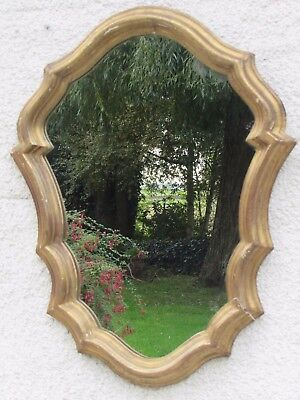 Antique Oval Mirror Carved Wood & Gold Napoleon III Style Seed Louis XV