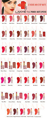 Lakme 9 to 5 Primer + Matte Lip Color Stick, 12 hours 41 Work Ready Shades, 3.6g