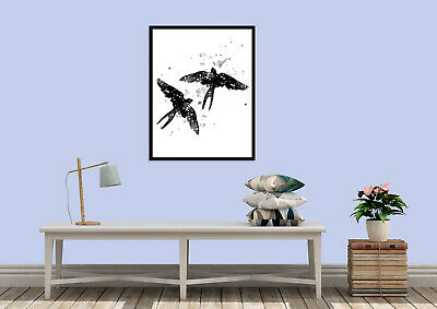 Birds Water colour animal silhouette wall art prints
