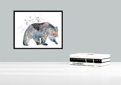 Bear abstract water colour animal silhouette wall art prints
