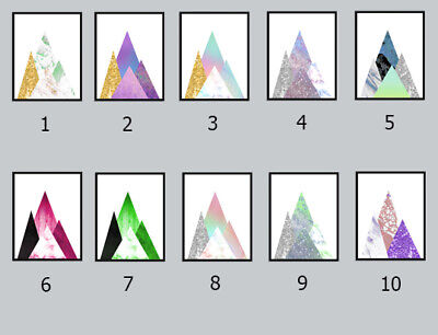 Abstract geometric Mountains wall art print (10 designs)