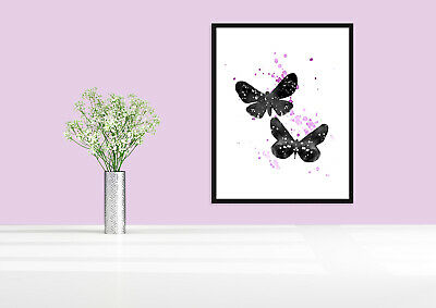 Butterflies abstract water colour animal silhouette wall art prints
