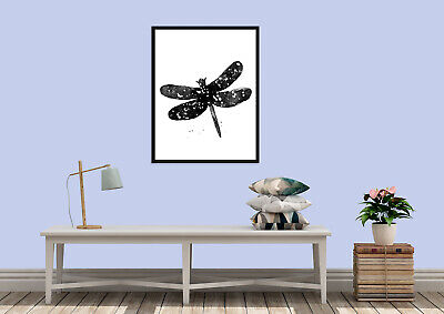 Dragonfly abstract water colour animal silhouette wall art prints