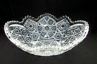 Antique Large American Brilliant cut glass oval serving or display bowl-MINT-EUC