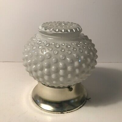 Antique mid century flush mount white frosted glass candle wick shade fixture