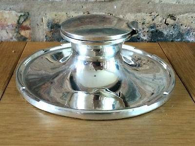 Superb Antique 1911 Silver Edwardian Art Nouveau Capstan Inkwell & Glass Liner
