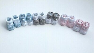 Baby Girls Boys Newborn Knitted Booties Soft Shoes White Grey Pink Blue Cotton
