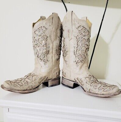3ab234eac Corral Boots Women Ladies White Glitter Inlay Crystal Square Wedding Boot  10 M