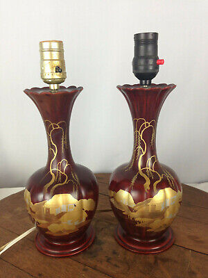 VINTAGE PAIR of TABLE LAMPS RED W/ GOLD GILT PAINTED ORIENTAL SCENE #WH1-1