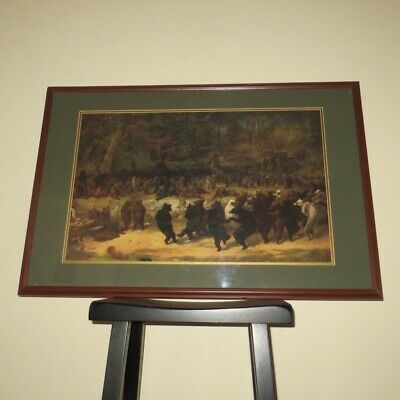 """The Bear Dance by William Holbrook Beard Framed & Matted Large Print 36"""" x 24"""""""