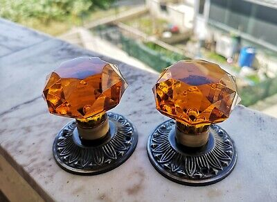 1 Pair VINTAGE (ANTIQUE) DOOR KNOBS - cut AMBER Glass - HANDLES 55 mm
