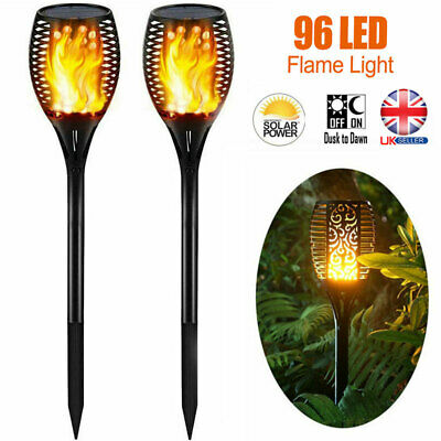 6PCS Solar 96 LED Flickering landscape Lamp Dancing Flame Torch Garden Light UK