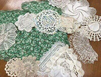 bulk lot 20 Vintage Doilies lace White Green Cream Craft