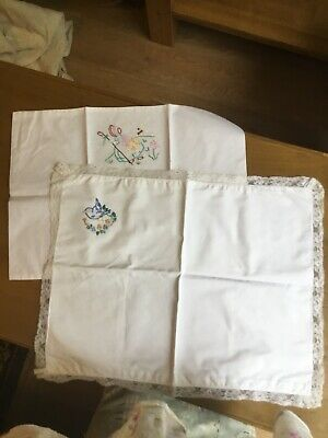 2 Vintage Baby Or Dolls Pillowcases Embroidered Pram Crib Cot #