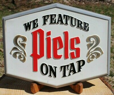 "1967 ""WE FEATURE PIELS ON TAP"" Vtg Piels Beer Plastic Bar Sign Promo Pub Display"