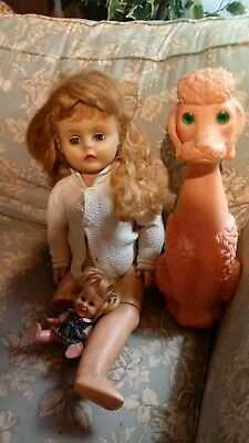 Vintage Haunted Doll and pink poodle lot of 3 dolls. Home to 11 year old girl.