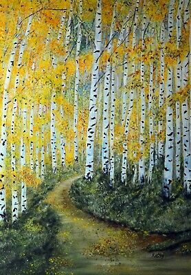 Eye's of the Forest ACEO print from painting, 3.5x2.5 Aspen Birch Forest, Signed