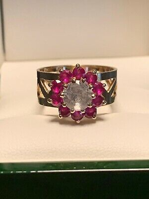 GORGEOUS 9ct GOLD RUBY AND WHITE SAPPHIRE RING SIZE N-O 4.2gms