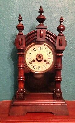 EARLY 1900s JUNGHANS WOODEN MANTEL CLOCK - NOT RUNNING SPARES REPAIRS