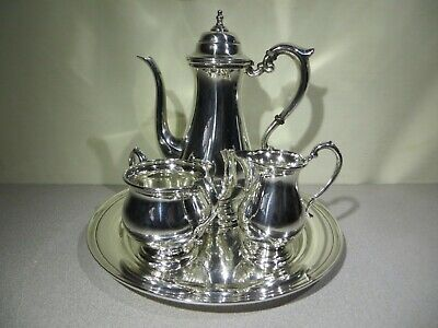 STERLING SILVER Tea Coffee SET By MANCHESTER  - Teapot - Creamer - Sugar - Tray
