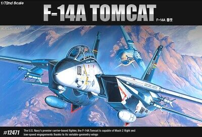Academy 1/72 US Navy Fighter F-14A Tomcat Military Plastic Scale Model Kit 12471