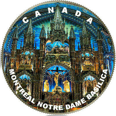 2018 Canadian Coloured 25 cents Montreal Famous Notre Dame Basilica