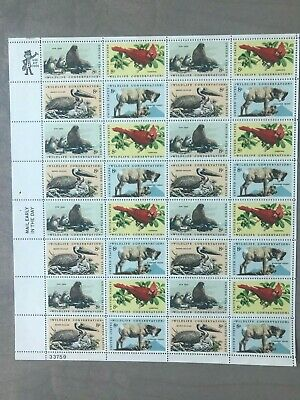 Us Scott 1464-1467 Pane Of 32 Wildlife Conservation Stamps 8 Cent Face Mnh