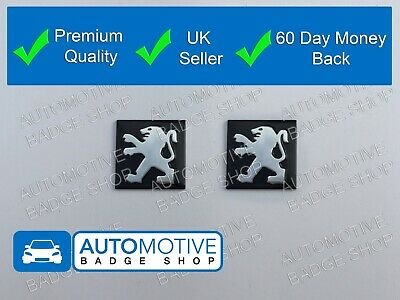 x2 PEUGEOT KEY BADGE PAIR FOB REMOTE EMBLEM STICKER BADGE LOGO BUTTON DECAL 15MM