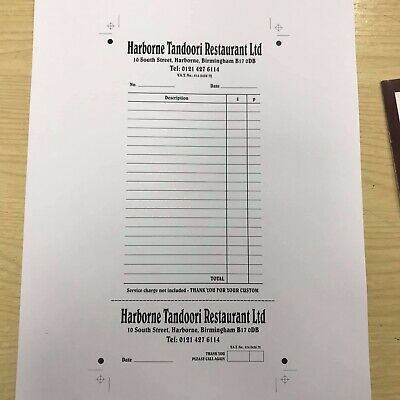 DL personalised NCR Duplicate Restaurant/Takeaway/Bar/Hotel Order Pads