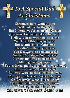 To A Special Dad At Christmas Memorial Graveside Poem Card & Ground Stake F244