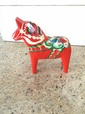 Olsson SWEDISH DALA HORSE Hand Painted Wood Sweden 7 inches tall
