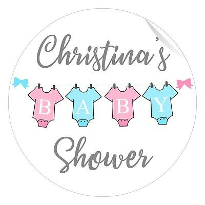 Baby Shower Stickers Baby grows Pink Blue Yellow or Green