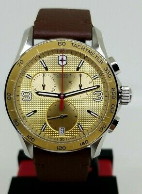 987be54c461c7 Victorinox Swiss Army Watch Chronograph 241659 Brown Leather Gold Tone Dial  $625