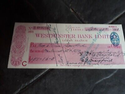 Westminster Bank Cheque Park Row Branch 1941