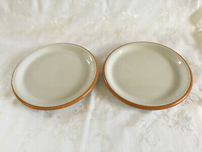 """2 SONORA WHITE by CROWN CORNING 9"""" SALAD / LUNCH PLATE TERRA COTTA  JAPAN"""