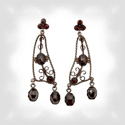 Vintage garnet Filigree earrings w/14ct gold studs in Victorian style // ГРАНАТ