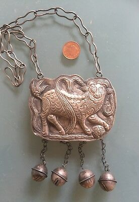 Early 20th Century White Metal Lion Pendant Persian? 7x9cm Used