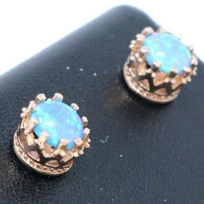 Hand Carved Blue Opal Stud Earring Women Jewelry 14K Rose Gold Plated Gift Box