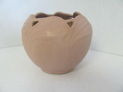 Van Briggle Philodendron Reticulated Leaf Rose Bowl Vase Pink Salmon 1950's