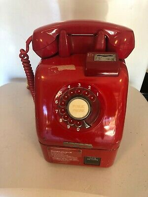 Vintage Red Coin Public Telephone