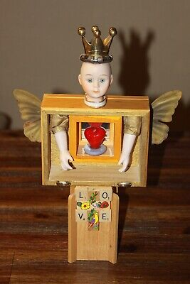 Butterfly Queen With Reflecting Heart Assemblage Altered Art Mixed Media
