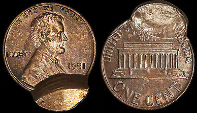 1981 Cent Unc. Red/Brown - Error - Double Struck - Uniface - Counter Brockage 1¢