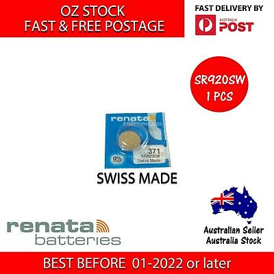 1 x RENATA SR920SW 371 1.55v Button Coin Cell Silver Oxide Battery SWISS MADE
