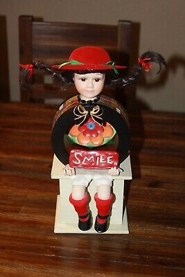 Pig-Tailed Girl with Hat Sitting with Smile Assemblage Altered Art Mixed Media