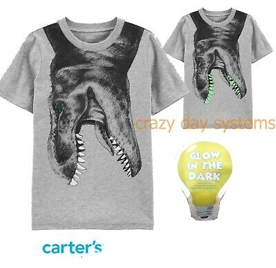 NWT Carters Tee Shirt Glow In The Dark Dinosaur Boys Sizes 10 12 14 New Gray