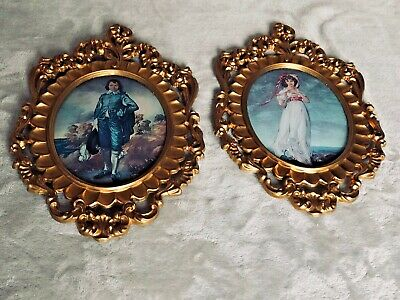 Vintage Pair of Ornate SP Mod Depose Oval Pictures with Convex Glass - Italy