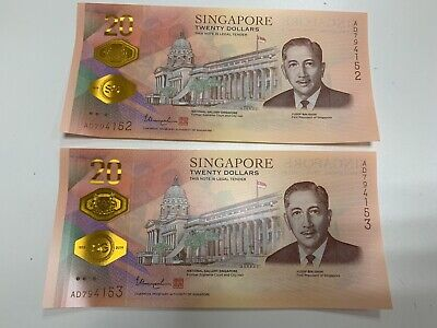 2 x Singapore Bicentennial $20 Commemorative Banknote 2019 Running with Folder