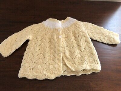 63670b4e8 Antique vintage baby hand knitted sweater 0-6 mo size Yellow with white  accent